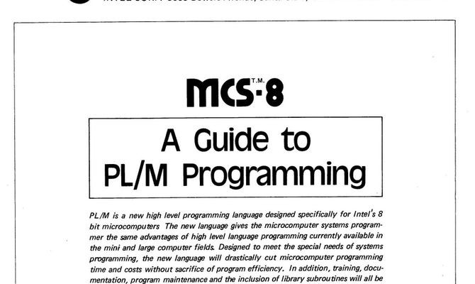 """A Guide to PL/M Programming,"" Intel Corporation, September 1973"