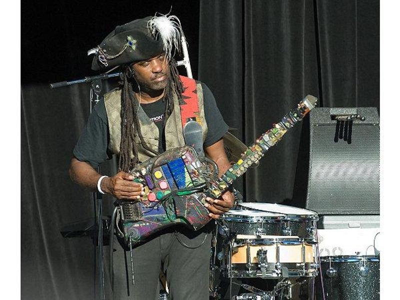 "Roy ""Futureman"" Wooten of Bela Fleck & The Flecktones, playing his Drumitar; a heavily-modified SynthAxe"