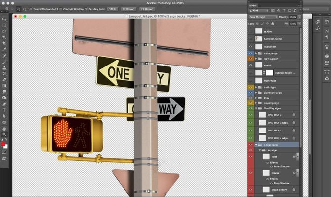Photoshop layers panel (Times Square detail, by Bert Monroy). Courtesy of Bert Monroy.
