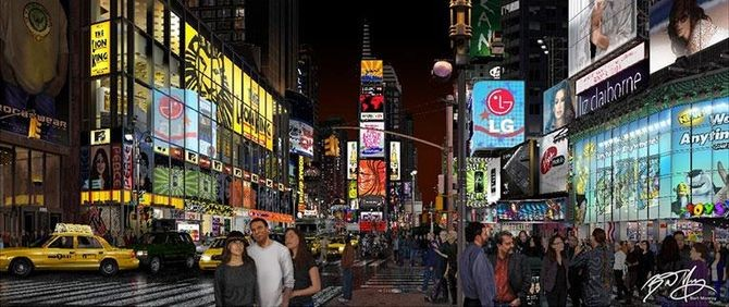 Bert Monroy, Times Square, 2011. Monroy created Times Square over four years. It contains over 750,000 layers and depicts dozens of digital imaging artists and pioneers, including Photoshop creators John and Thomas Knoll, as well as some of Monroy's family and friends. Times Square is currently on display in the Museum's exhibition, Make Software: Change the World!