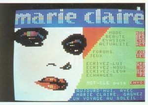 Minitel hosted some of the first truly mass-market experiments in online publishing. Shown here is an online issue of the women's magazine Marie Claire.