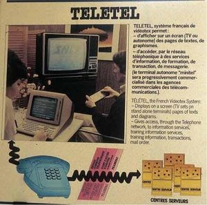 "Magazine ad, 1982. Officially the service was called ""Teletel,"" and the free home terminals were called ""Minitels."" But the latter name stuck."