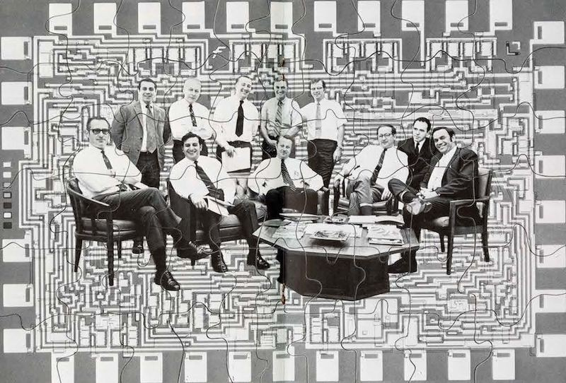 "This composite image from Leadwire (April−May 1970) features 11 group directors responsible for leading the Semiconductor Division in 1970. Former Motorola executives indicated  were known as ""Hogan's Heroes."" From left to right front row: Jim Hazle, Tom Longo, Joe Van Popplen, George Scalise, Doug O'Connor, Gene Blanchette  Rear row: Andy Procassini, Bob Friedman, Wilf Corrigan, Dave Haynes, Bill Lehner"