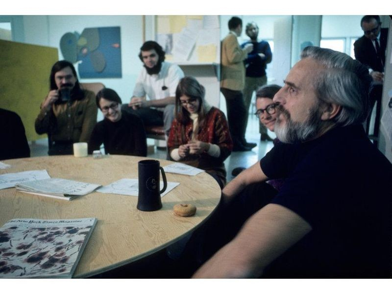 Engelbart (right) started the NIC in his ARC group at SRI. It was a central library as well as the repository of data the network needed to run.