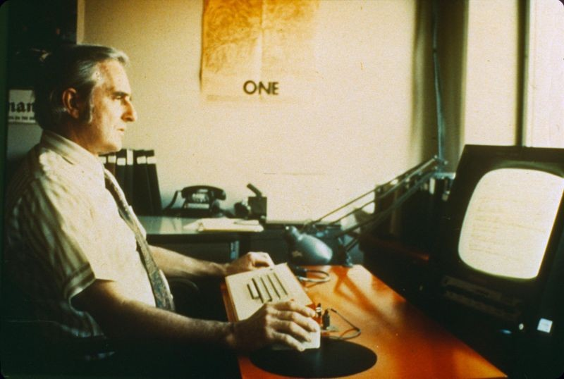 Doug Engelbart at an NLS workstation