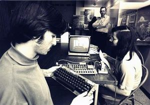 Steve Jobs and Wozniak using Apple-1 system, ca. 1976