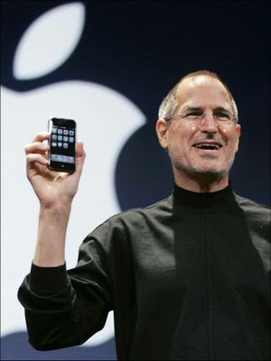 Steve Jobs unveiling iPhone to the world