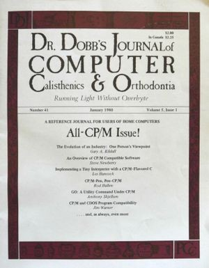 "Dr. Dobbs Journal, ""All-CP/M Issue!"" January 1980. Copyright: Dr Dobbs (www.drdobbs.com)"