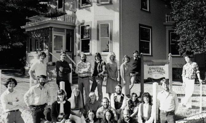 DRI staff outside the headquarters office, Pacific Grove CA, November 1980. Photo: Copyright John Pierce