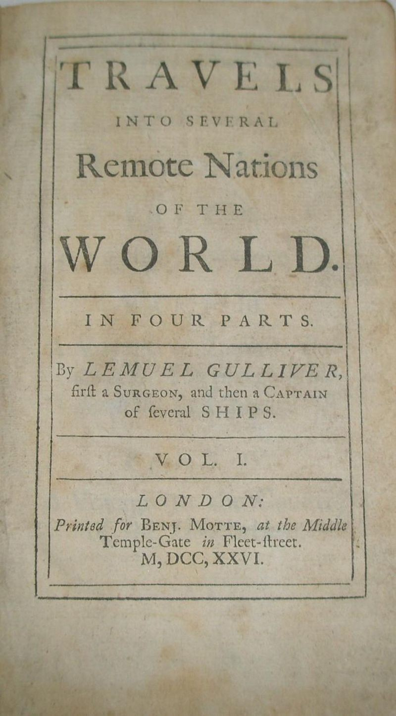 Title Page from the First Edition of Gulliver's Travels