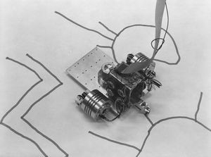 """The 1979 exhibition, Drawings, at SFMOMA, featured this """"turtle"""" robot creating drawings in the gallery. Collection of the Computer History Museum, 102627449."""