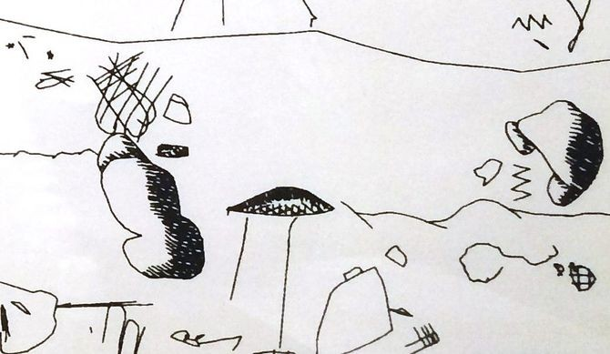 Detail from an untitled AARON drawing, ca. 1980.