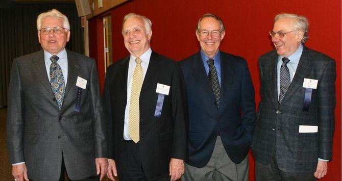 With Hans Queisser, Jim Gibbons, and Jay Last at Shockley Labs 50th anniversary celebration, 2006