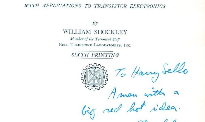 "Title page of ""Electrons and Holes"" endorsed to Harry by the author (1958)"
