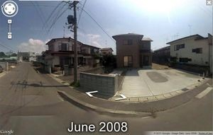June 2008, Sendai, Japan, Google Street View photo before the earthquake and tsunami