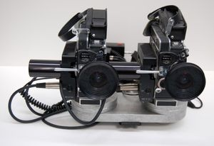 "Stereoscopic 16mm camera assembly, from ""See Banff!"" 3D movie map, 1994