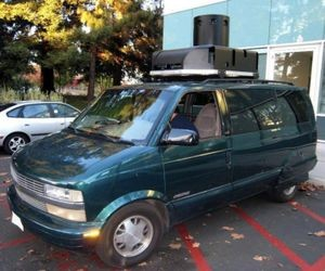 Early Street View van, with camera turret. The back was filled with equipment, now greatly miniaturized