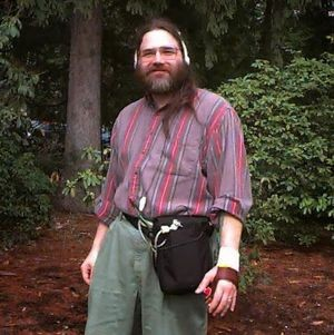 Greg Priest-Dorman with an audio wearable computer, 1990s. Courtesy Greg Priest-Dorman