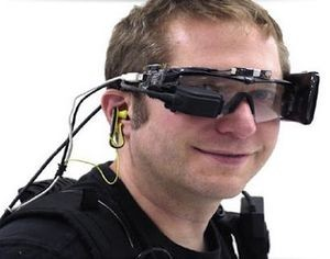 Starner with an early prototype of Google Glass