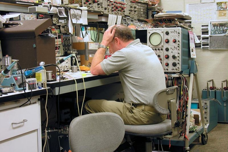 Jim Williams at work at Linear Technology, 2004