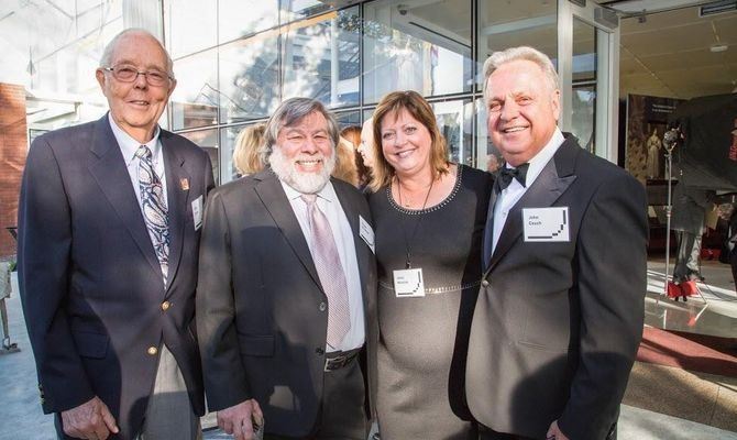 """Apple reunion: employee #14 Gene Carter, co-founder Steve and Janet """"Woz,"""" and VP of Education John Couch"""