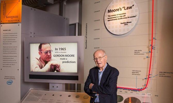 Gordon Moore in front of Moore's Law exhibit in CHM's Revolution exhibit