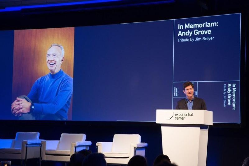 Jim Breyer, CEO of Breyer Capital, gives a tribute in honor of Intel founder Andy Grove
