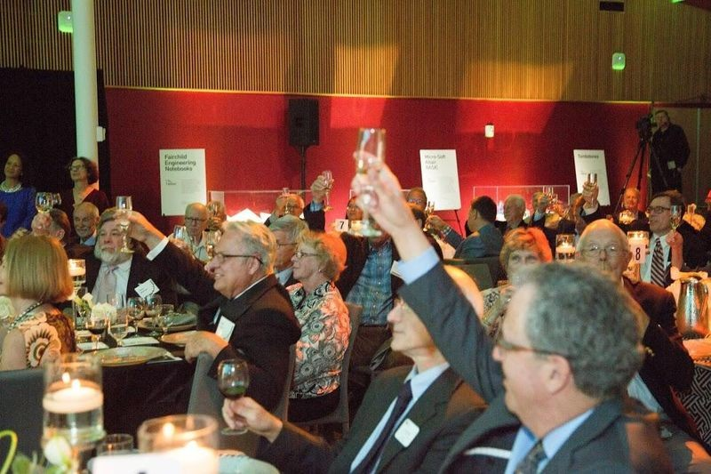 Attendees, representing more than 400 pioneering companies during the past 60 years, toast the Exponential Center