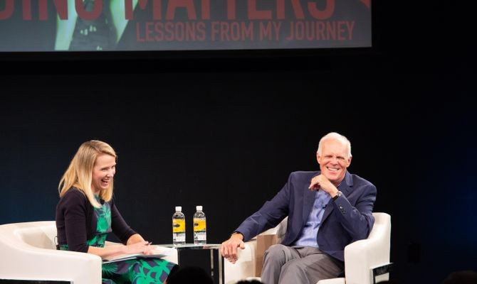 Alphabet Chairman and former President of Stanford University John Hennessy in conversation with Marissa Mayer, cofounder of Lumi Labs and former president and CEO of Yahoo.