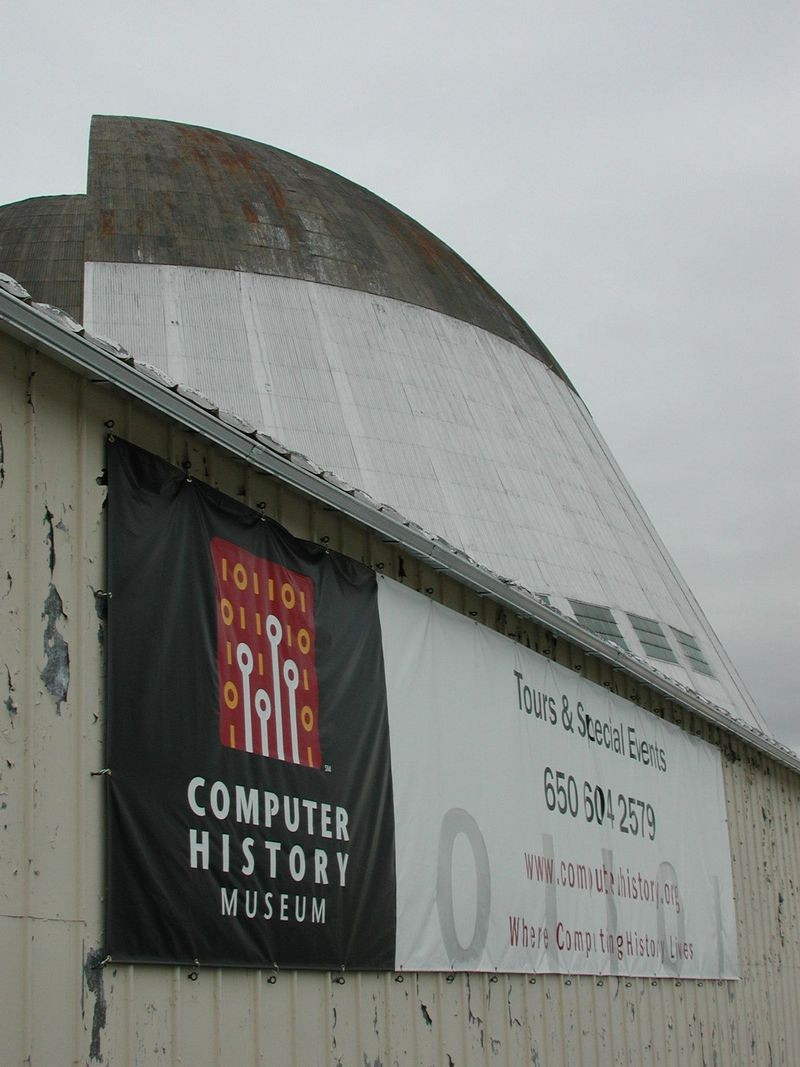 Original location of the Computer History Museum at NASA Ames, Moffett Field. Hangar One in the background.