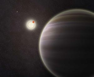 An artist's illustration of PH1, a planet discovered by volunteers from the Planet Hunters citizen science project. PH1, shown in the foreground, is a circumbinary planet and orbits two suns. Credit: Haven Giguere/Yale
