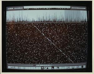 A screenshot of the MCSA 1 display as it detects the Pioneer 10 signal on June 4, 1985. CHM# 102657164/Courtesy of NASA Ames