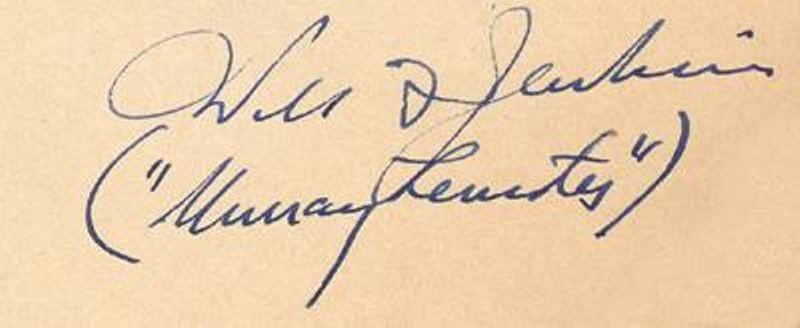 Autograph of Will F. Jenkins (and Murray Leinster), courtesy of Michael Krakoviskiy