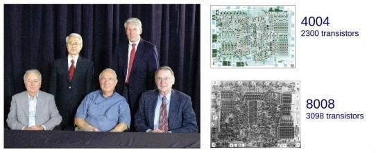 Intel MCS-4 and MCS-8 design team and CPU chips
