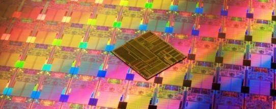 Intel Pentium microprocessor die and wafer