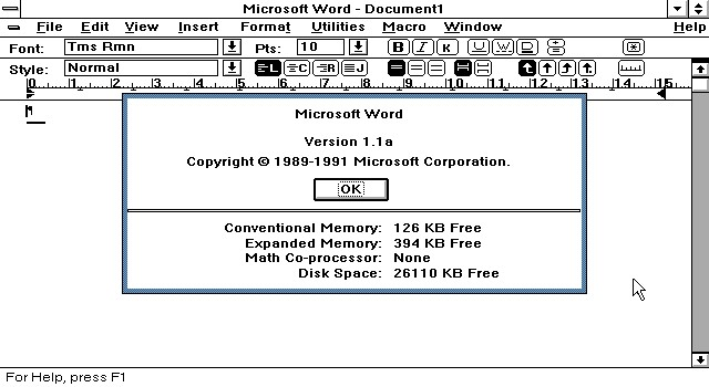 Version 1.1a, whose source code we are making available here, was released the next year. Microsoft Word For Windows had started its remarkable climb to 90% market share.