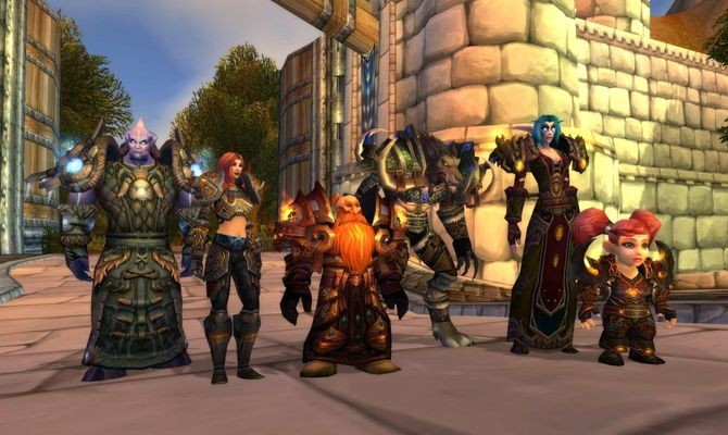 The playable races of the Alliance faction (from left to right): Draenei, Human, Dwarf, Worgen, Night Elf, and Gnome. Artwork courtesy of Blizzard Entertainment.