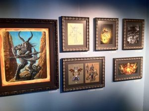 Diablo III paintings honoring the launch of the game hang in the Blizzard Entertainment museum display.