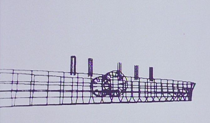 The wireframe animation of the Great Eastern, created by Stan Hayward for the Oscar-winning short film Great
