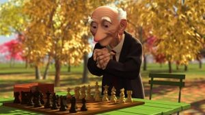 A still from Pixar's Oscar-winning short film Geri's Game