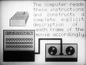 "Still from ""A Computer Technique"" for the Production of Animated Movies, an early example of Bell Labs' BEFLIX animation program"