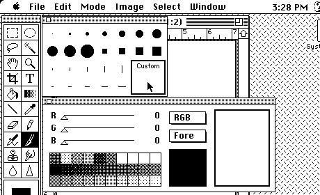 Photoshop allowed you to select brush color as well as size and texture. (The first color Mac was the Macintosh II in 1987.)