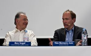 Ben Segal (left, with Tim Berners-Lee) brought the Internet to the Web's birthplace, CERN. Courtesy CERN.