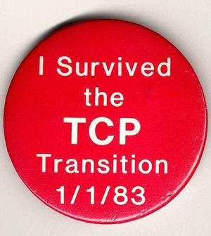 Commemorative button. In 1983 computers running the old ARPAnet NCP protocol were upgraded to TCP. Credit: blogs.diariosur.es/informaticauma/