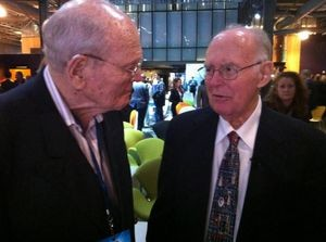 Left to right: David Morgenthaler, 96, and Gordon Moore, 86, at a 50th anniversary celebration of Moore's Law on May 11, 2015.