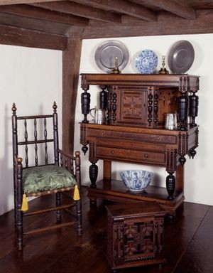 Courtesy, Winterthur Museum, Court Cupboard, possibly made by the Emery Shop, Newbury, Massachusetts, Red Oak, Sycamore, Black walnut, Tulip Poplar, Pine, Bequest of Henry Francis du Pont, 1966.1261.