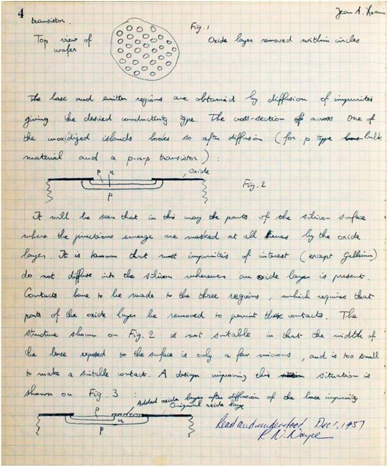 Second page of Hoerni's 1957 disclosure of his planar idea. Witnessed by R.N. Noyce.
