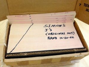 """The only identifying text on the cards was """"Simon's J's (original set) RAND 12-20-62″."""