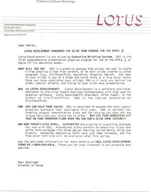 Lotus' announcement of Executive Briefing System. Courtesy of the Kapor Archive.