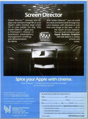 A 1982 print advertisement for Business and Professional Software's Screen Director program.